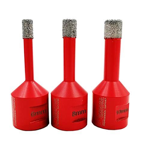 Marmor-und Granit-fliesen (SHDIATOOL Diamant Bohrkronen Set Vakuumgelötete für Porzellan Fliese Granit Marmor Trockenbohren(Durchmesser 6/8/10mm))