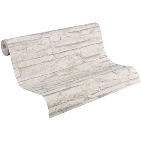 A.S. Création papel pintado Wood`n Stone gris blanco 10,05 m x 0,53 m 707116