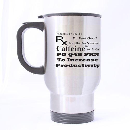 Funny caféine Café correcteurs – (Sliver) Mug en acier inoxydable Tasses de voyage – 396,9 gram Tailles