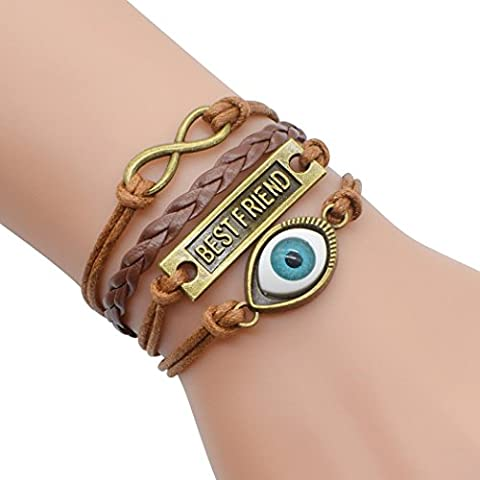 temps Usurier rétro Bronze mauvais œil Meilleur ami 2coeurs multicouche tressé Bracelet Bracelet