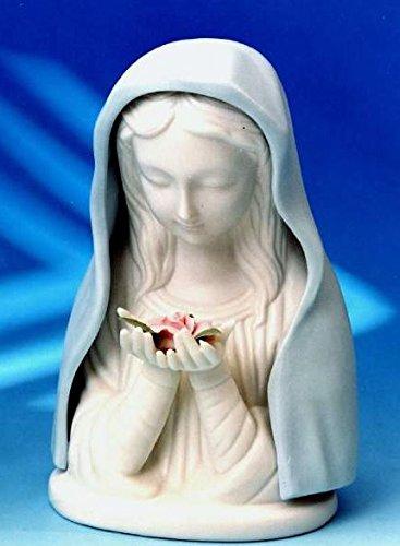 Madonna Virgen María de porcelana blanca de cerámica. Tamaño: 19 cm Estatua religiosa católica. Incl. La iluminación y el interruptor