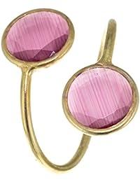 Córdoba Jewels | Anillo en plata de ley 925 bañada en oro. Diseño Duo Círculos rosa en oro