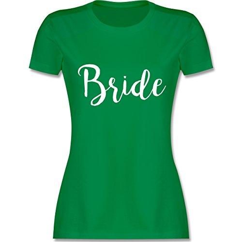 Shirtracer JGA Junggesellinnenabschied - Bride Lettering - Damen T-Shirt Rundhals Grün