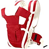 Nagar International Soft Baby Carrier 4 in 1 Position with Comfortable Head Support & Buckle Straps (RED)