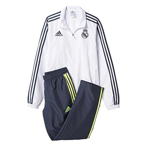 adidas Herren Trainingsanzug Real Presentation White/Deepest Space/Solar Yellow, S (Solar-anzug)
