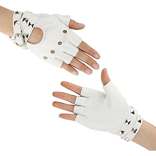 Homedecoam Damen Punk Rock Fingerlose Gothic PU Leder Handschuhe für Cosplay Kostüm Fahrrad Sports Handschuhe mit Nieten Coole Handschuhe