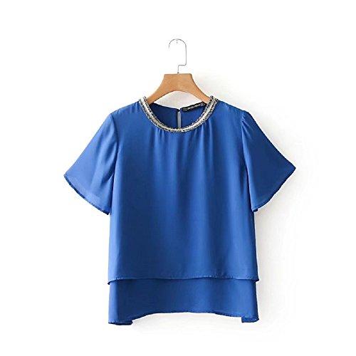 HASHIT Leisure Pure Farbe Tri-Color Optional Chiffon T-Shirt Rundhals Kragen Metall Disc Dekoration Double Cascade Saum Trend Freizeit T, Blau, S (Optional Metall)