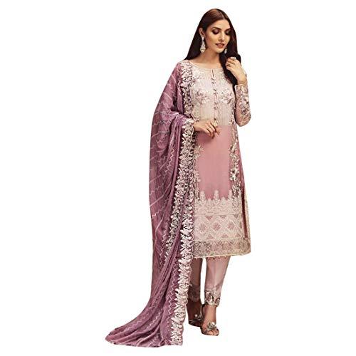 Pakistanisches Cocktailkleid Langes, schweres Paillettenarbeit Salwar Kameez Straight Pant-Anzug Indische Muslimische Abendkleidung Lavender 7423 -