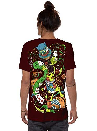 Herren T-Shirt mit Aliza Alice im Wunderland Psychodelischem Aufdruck - Bordeaux - Medium - handgefertigt durch Siebdruck Festival Tee -