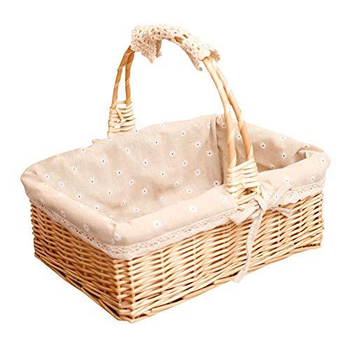 Nicololfle Picknickkorb Weidenfruchtblume Lagerung Rattan Tragbare Ungiftige Harmlose Umweltfreundlicher Korb Für Picknick (Weidenkorb Mit Liner Kleine)