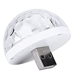 Mini USB Disco Lamp with Smartphone Adapter for Party DJ Car Outdoor Christmas for iPhone/Andriod ( Color : White-For Andriod )