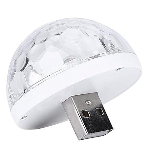 Mini USB Disco Lampe LED Boule Magique Lampe Plafonnier avec Adaptateur Smartphone pour DJ Décoration Fête Noël Halloween Soirée Club pour Téléphones Portable IPhone et Andriod ( Color : Blanc , Edition : For Andriod ) …