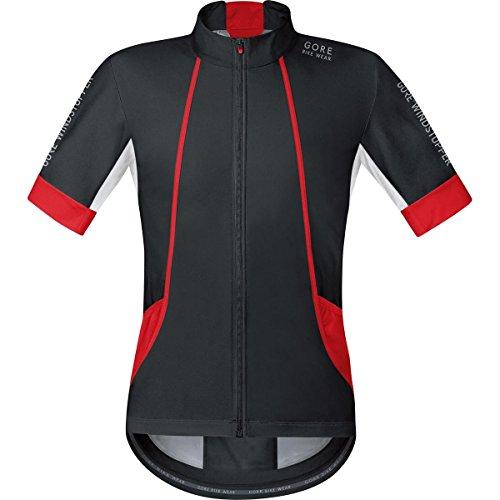Gore Bike Wear SMWOXY993505 Maglia Uomo Ciclismo su strada, Maniche corte, GORE Selected Fabrics, OXYGEN WINDSTOPPER Soft Shell, Taglia L, Nero/Rosso