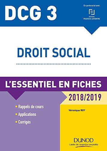DCG 3 - Droit social - 9e d. : L'essentiel en fiches - 2018/2019