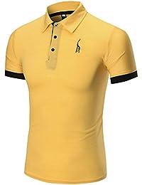 Tefamore Mode Entreprise Homme Casual Slim Manche Courte Fawn T Shirt Top  Blouse 922015e718a