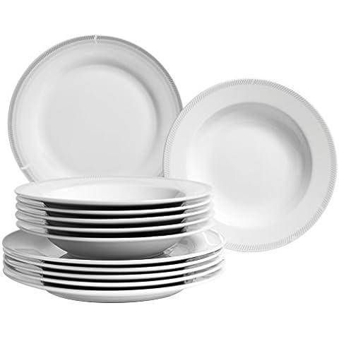 Domestic by Mäser 928936Serie Lucine Vajilla para 6personas, 12piezas, porcelana, porcelana, blanco, 40  x  40  x  25