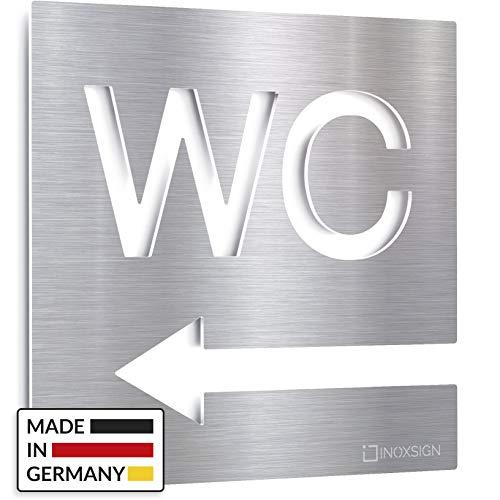 72f1bd6ea3f1 Insegna WC acciaio inox - segno toilette autoadesivo - freccia a sinistra -  INOXSIGN W03