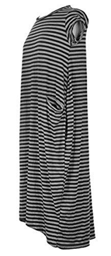 Sevello Clothing Ladies Womens Italian Lagenlook Quirky Cap Sleeves Stripe Viscose Jersey 2 Pocket Long Tunic Midi Dress One Size UK 8-14 (Black)