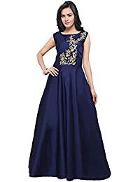 Purva Art Women's Navy Blue Taffeta Silk Blouse Work Stitched Long Gown For Girls (PA_2401_Navy Blue_Taffeta_Stitched_JFW...