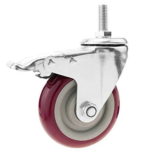 PrimeMatik - Lenkrollen Schwenkrollen Industriell Rad aus PVC mit Bremse 100 mm M12