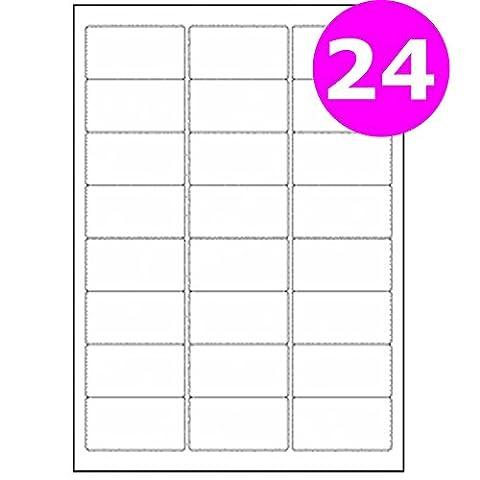 A4Étiquettes pour adresse Adhésif feuilles Imprimante jet d'encre Copieur Laser patte autocollante Label Size:24 labels - 1 Box (100 Sheets)