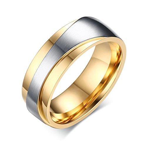 Gnzoe Herren Ringe Verlobungsringe Edelstahl Herrenringe Für Paare Gold Ringe mit Zirkonia 65 (20.7) - 4