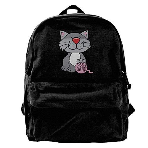 HOJJP Schultasche Unisex Classic Canvas Backpack Cat Yarn Unique Print Style,Fits 14 Inch Laptop,Durable,Black -