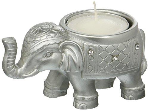 Fashioncraft Buena suerte plata elefante indio titular de la vela