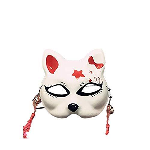 MMMMM Gesichtsmaske Schild Schleier Wache Bildschirm Domino falsche Vorderseite Handbemalte Halbmaske Katze Cosplay Ball Maske,White