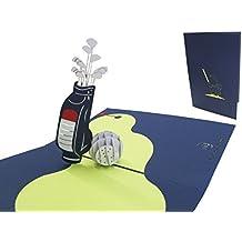 LIN-POP UP 3D Karten, Golfkarten, Geburtstagskarten Gutschein Golftour Einladungskarten Jubiläumsfeier, Golfspiel