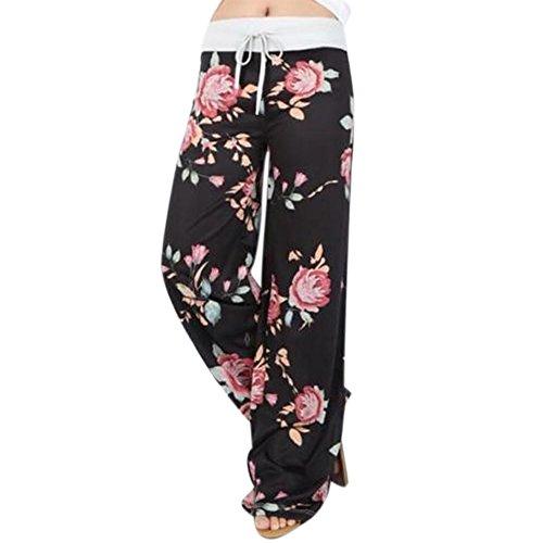 wlgreatsp Da donna A vita alta Pantaloni larghi per le gambe Black