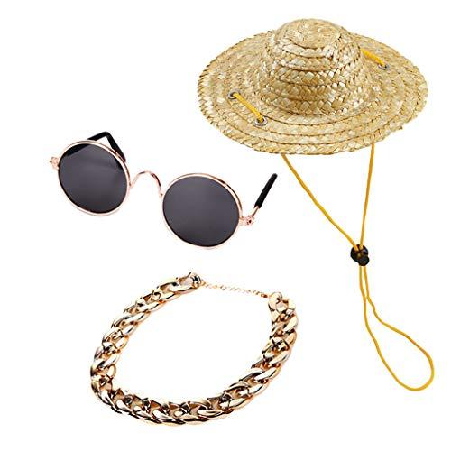 T.boys Dog Stilvolle Anti-UV-Sonnenbrillen für Hündchen Welpen mit Pet Hunde Sun Hat Strand Stroh Hüte und Hundehalsband Hundehalskette