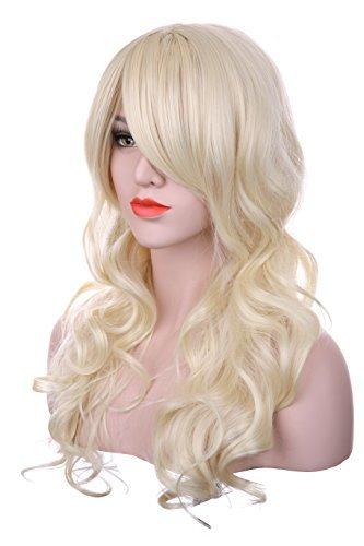 Hxhome Perruque blonde naturelle bouclée femme pour les bals masqués d'Halloween.
