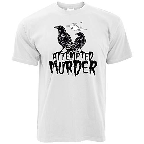 Halloween T-Shirt Mordversuch Crow Pun White XXX-Large