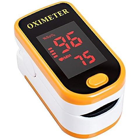 Denshine Saturimetro Pulsossimetro da Dito con Display LED a Colori per Misurare SpO2 e Polso,Colore Arancione