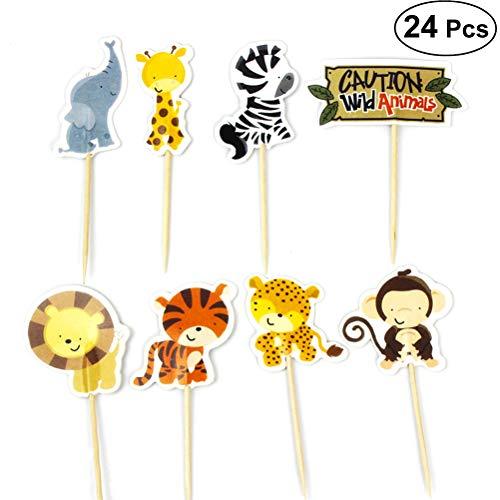 BESTOYARD 24 stücke Nette Zoo Cupcake Picks Tier Kuchen Topper Dekorationen für Kinder Geburtstag Baby Shower Party Favor Supplies