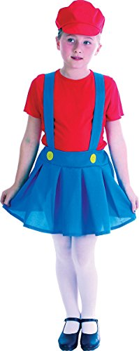 Best Value Low Cost Plumber Girl Fancy Dress Outfit with Skirt, T-shirt and Hat