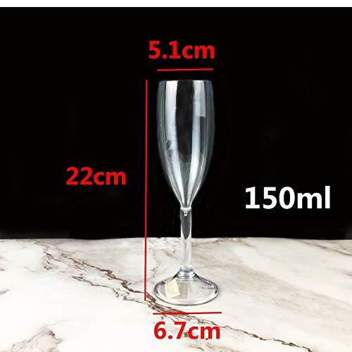 CHEER LEIGH Acryl Champagnerglas Becher Plastikbecher Rotweinglas Transparent Bar Ktv Tasse 5 Stück Set 150Ml (Acryl-nasen-halterung)