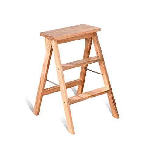 NEVY- Massivholz Tritthocker Haushalt Küche Falten Leiter Wohnzimmer Tragbar Stuhlleiter Duale Verwendung Multifunktion Einfach Zu Installieren Multifunktion (Farbe : Holzfarbe)