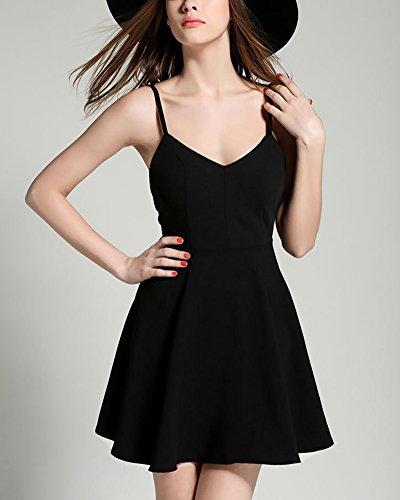 Vestiti Donna Vestito Miniabito l'ala Dell'Angelo Senza Maniche Abito di Sera Nero
