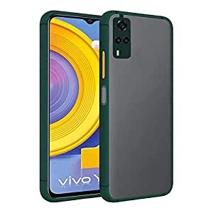 Amazon Brand - Solimo Matte ClearCase (Hard Back & Soft Bumper Cover) with Camera Protection for Vivo Y31 - Dark Green