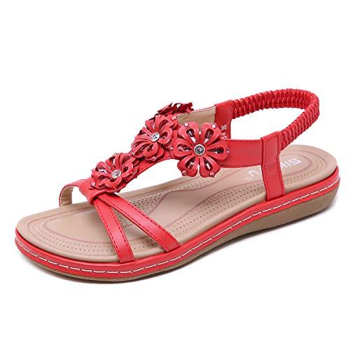 Scarpe da Donna di Metallizzato di Peltro Open Toe Elastic Sling Back Flat Low Wedge Diamante Jewel Detail Sandali Taglia EU 39 Red