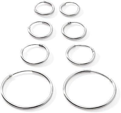 Cuatro pares de plata de ley pequeño Endless pendientes de aro para el cartílago de la oreja, nariz o labios, 10mm 12mm 14mm y 24mm