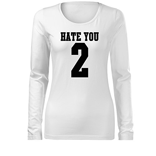 hate you 2 Cooles shirt long sleeve für Rock`n Rolls Party Fun Fans Bedruckt - Neu S-2XL (346-LS139-Weiß-L)