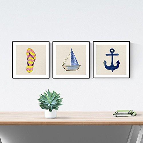 Nacnic Pack de láminas para enmarcar Brisa Marina. Posters Cuadrados con imágenes del mar. Decoración de hogar. Láminas para enmarcar. Papel 250 Gramos