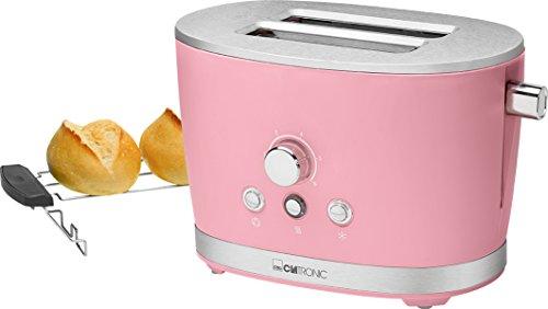 Clatronic TA 3690 Rock'n'Retro 2-Scheiben-Toaster mit Brötchenaufsatz, Krümelschublade, Auftaufunktion, Aufwärmfunktion, Schnellstoppfunktion, Pink