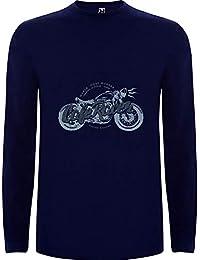 Lilij Camiseta Hombre Manga Larga Cafe Racer Bike Moto Blanco