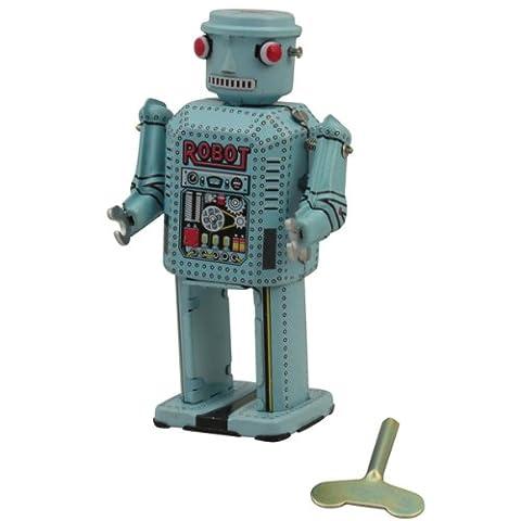 """Superfreak® Blechroboter°Blechspielzeug°Roboter aus Blech°Größe M """"Mechanical Robot - hellblau"""""""