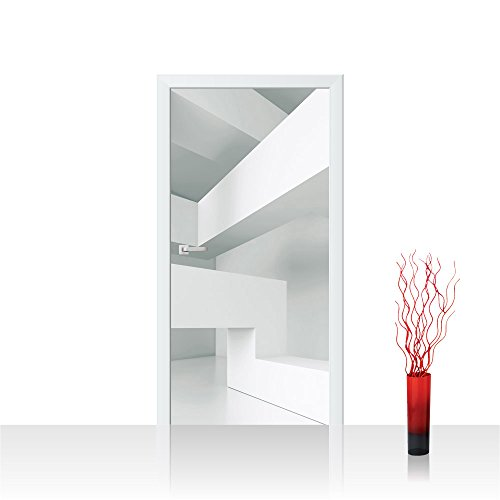 Türtapete selbstklebend 91x211 cm PREMIUM PLUS Tür Fototapete Türposter Türpanel Foto Tapete Bild - Abstrakt Linien Ecken 3D - no. 592