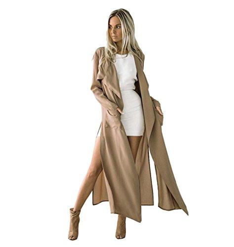 Toamen Veste Cardigan Femmes Longue section Outwear Trench Windbreaker Parka Mode Élégant (L, Kaki)
